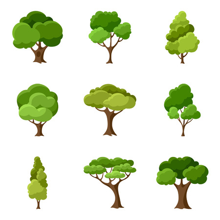 Illustration pour Set of abstract stylized trees - image libre de droit
