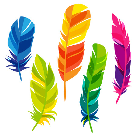Illustration pour Set of abstract bright transparent feathers on white background - image libre de droit