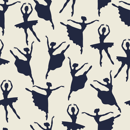 Illustration for Seamless pattern of ballerinas silhouettes in dance poses - Royalty Free Image