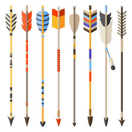 Ilustración de Ethnic set of indian arrows in native style. - Imagen libre de derechos