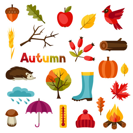 Illustration pour Autumn icon and objects set for design. - image libre de droit