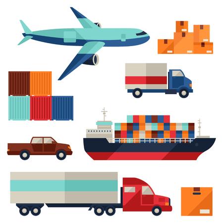 Illustration pour Freight cargo transport icons set in flat design style. - image libre de droit