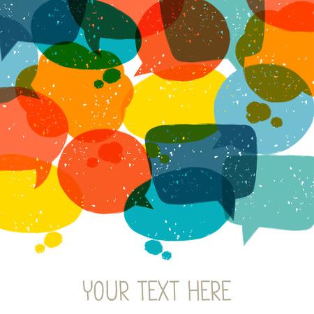 Illustration pour Background with abstract retro grunge speech bubbles. - image libre de droit