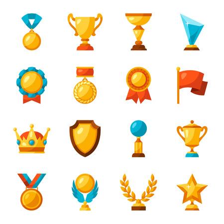 Illustration for Sport or business trophy award icons set. - Royalty Free Image