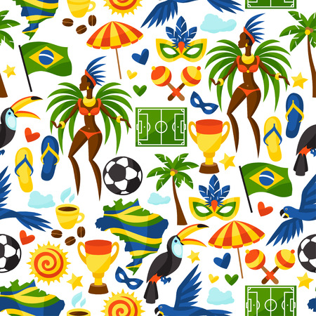 Illustration pour Brazil seamless pattern with stylized objects and cultural symbols. - image libre de droit