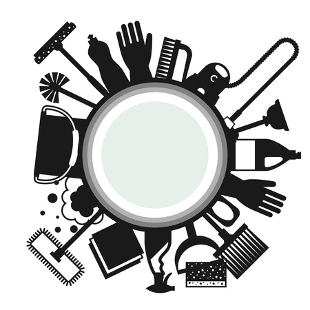 Illustration pour Housekeeping background with cleaning icons. Image can be used on advertising booklets, banners, flayers, article, social media. - image libre de droit
