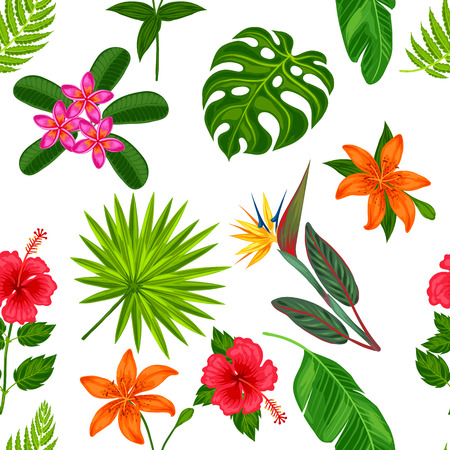 Illustration for Seamless pattern with tropical plants, leaves and flowers. Background made without clipping mask. Easy to use for backdrop, textile, wrapping paper. - Royalty Free Image