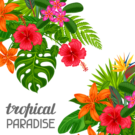 Illustration for Tropical paradise card with stylized leaves and flowers. Image for advertising booklets, banners, flayers. - Royalty Free Image