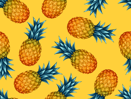 Photo pour Seamless pattern with pineapples. Tropical abstract background in retro style. Easy to use for backdrop, textile, wrapping paper, wall posters. - image libre de droit
