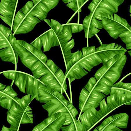 Illustration pour Seamless pattern with banana leaves. Image of decorative tropical foliage. - image libre de droit