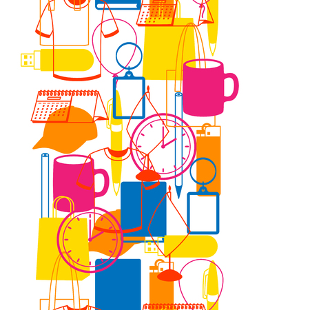 Illustration pour Seamless pattern with promotional gifts and souvenirs - image libre de droit