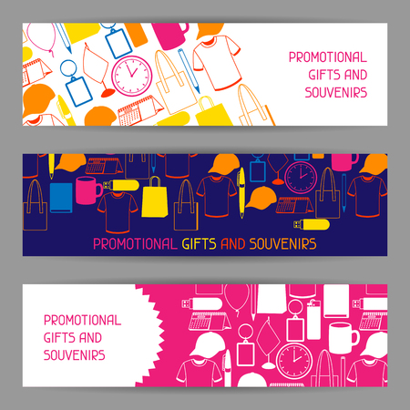 Illustration pour Advertising banners with promotional gifts and souvenirs - image libre de droit