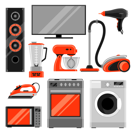 Illustration pour Set of home appliances. Household items for sale and shopping advertising design - image libre de droit
