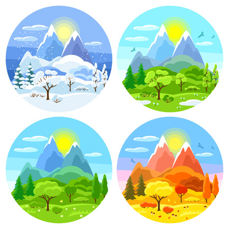 Illustration pour Four seasons landscape. Illustrations with trees, mountains and hills in winter, spring, summer, autumn. - image libre de droit