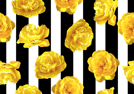 Ilustración de Seamless pattern with fluffy yellow tulips. Beautiful realistic flowers and buds. - Imagen libre de derechos