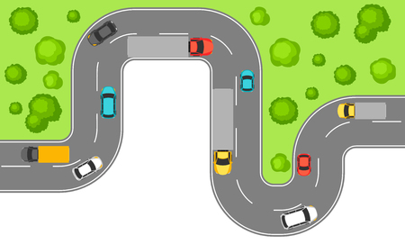 Illustration pour Banner with top view of road. Highway traffic cars in countryside. - image libre de droit