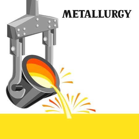 Ilustración de Metallurgical ladle illustration. Industrial equipment for casting metal. - Imagen libre de derechos