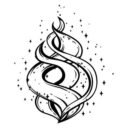 Ilustración de Magic fire with stars. Black and white hand drawn illustration. - Imagen libre de derechos
