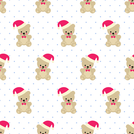 Foto für Xmas Teddy Bear with Santa hat seamless pattern on white polka dots background. Cute vector with baby bear. Design for print on baby's clothes, textile, wallpaper, fabric. - Lizenzfreies Bild
