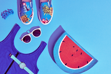 Photo pour Summer Hipster Girl Accessories Set. Fashion Design. Hot Summer Sunny Vibes. Trendy Sneakers, fashion Sunglasses, Glamor Watermelon Clutch. Creative Bright Sweet Style. Blue Pastel Color.Minimal, Art - image libre de droit