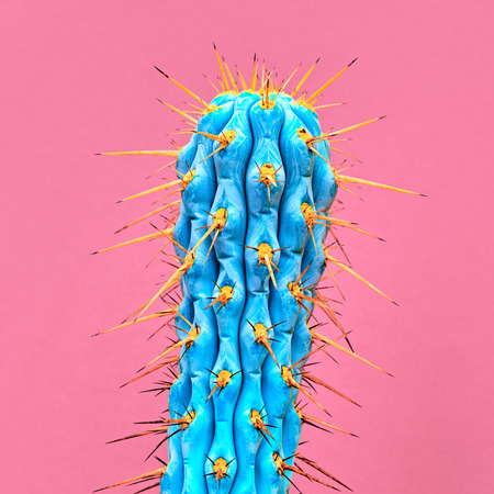 Photo for Cactus Neon. Art Gallery Fashion Design. Minimal Stillife. Concept on pink background. Detail - Royalty Free Image