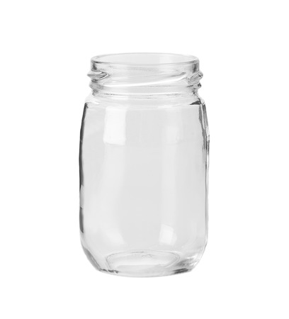 Photo for Empty glass jar. Isolated on a white background. - Royalty Free Image
