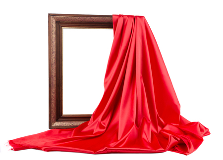 Photo pour Wooden frame with red silk. On a white background. - image libre de droit