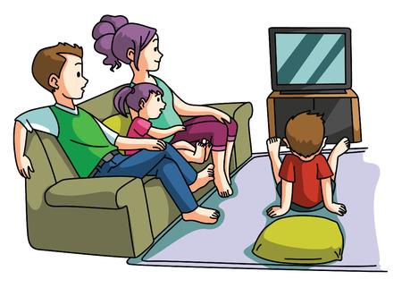 Photo pour Family watching tv time - image libre de droit