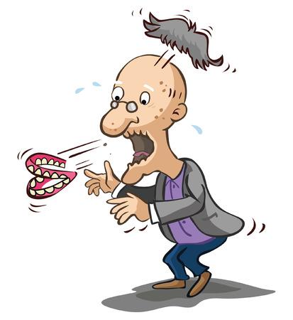Illustration pour Old man shocked - image libre de droit