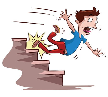 Photo pour men slipped on the stairs - image libre de droit