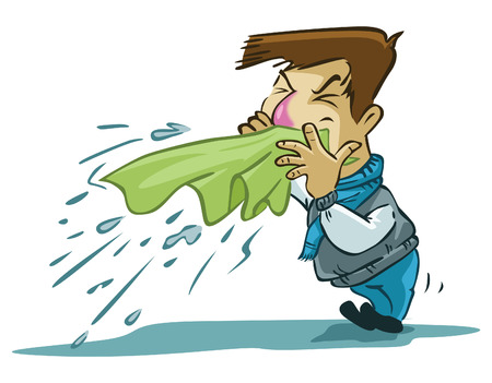 Ilustración de sneezes man - Imagen libre de derechos