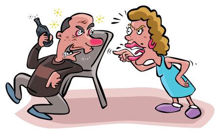 Ilustración de Argues wife to alcoholic husband - Imagen libre de derechos