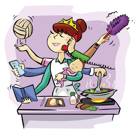 Ilustración de Busy mom - Imagen libre de derechos