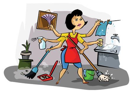 Illustration pour Busy mom - image libre de droit