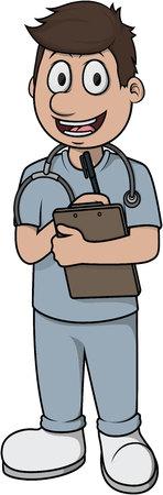 Illustration pour Nurse man vector cartoon illustration design - image libre de droit