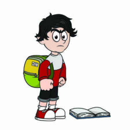 Illustration pour angry student because of homework - image libre de droit