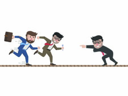 Ilustración de three bussinessman running through each other - Imagen libre de derechos
