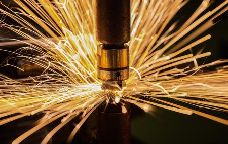 Foto de Closeup spot welding nut - Imagen libre de derechos
