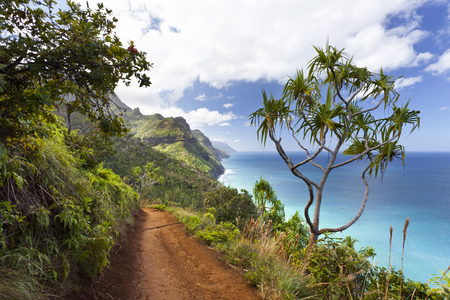 Foto de View along the Na Pali Coast from the Kalalau Trail in Kauai, Hawaii. - Imagen libre de derechos