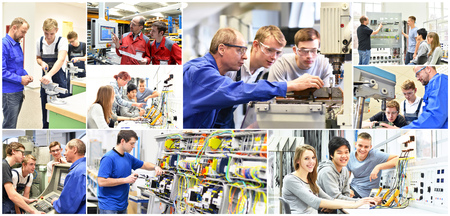 Photo for Group of young people in technical vocational training with teacher - collage with various pictures - Royalty Free Image