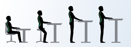 Ilustración de ergonomic. Height adjustable desk or table sitting and standing pose of a man. Saddle chair - Imagen libre de derechos