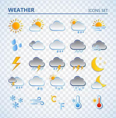 Illustration pour Weather icons set. Cartoon colorfull art vector illustrations. Sticky symbols of forecast. Meteorological infographics signs. Web icons vector design - image libre de droit