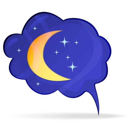 Bubble with the moon and stars - an icon. Vector illustration