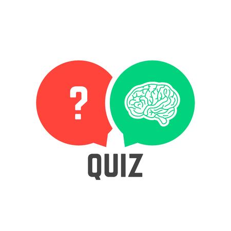 Illustration pour Question mark and brain like quiz vector illustration. - image libre de droit