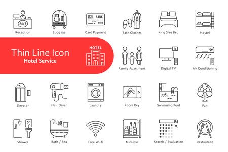 Ilustración de Thin line icons set for hotel and home life - Imagen libre de derechos