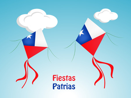 Illustration pour Illustration of elements of Chile's National Independence Day Background. - image libre de droit
