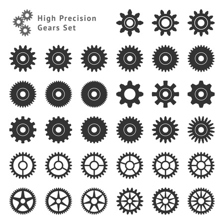 Illustration pour Set of 33 gears made with high precision  Realistic toothed size and format  - image libre de droit
