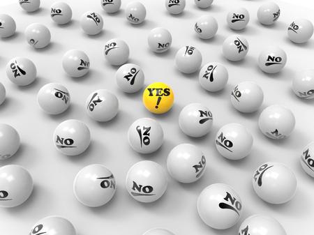 Foto de Unique Yes and many No labeled balls on a white background, 3D render - Imagen libre de derechos