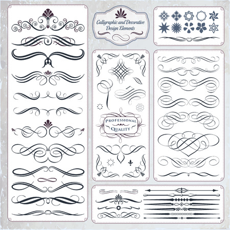 Illustration for Calligraphic decorative elements in format. Ideal for creative layout, greeting cards, invitations, books, brochures, stencil and many more uses. - Royalty Free Image