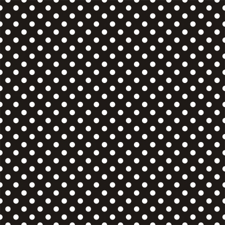 Illustration pour Seamless vector pattern with white polka dots on black background. For desktop wallpaper, web design, cards, invitations, backgrounds, arts and scrapbooks - image libre de droit